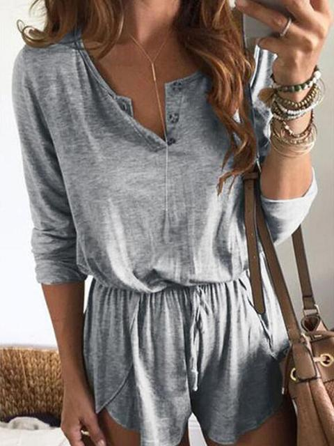 Casual Drawstring Blends Romper