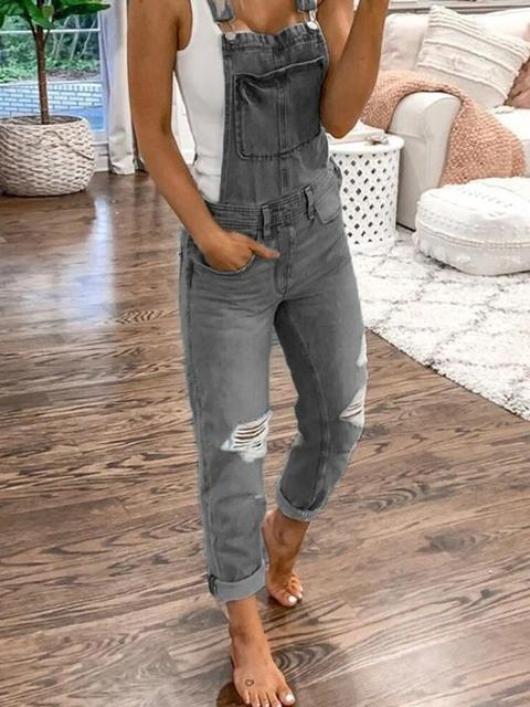 Casual Plain Denim Ripped Jumpsuit