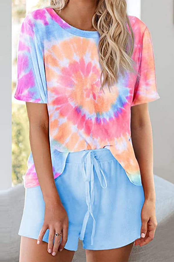 Casual Tie-dye Print Shorts Suits