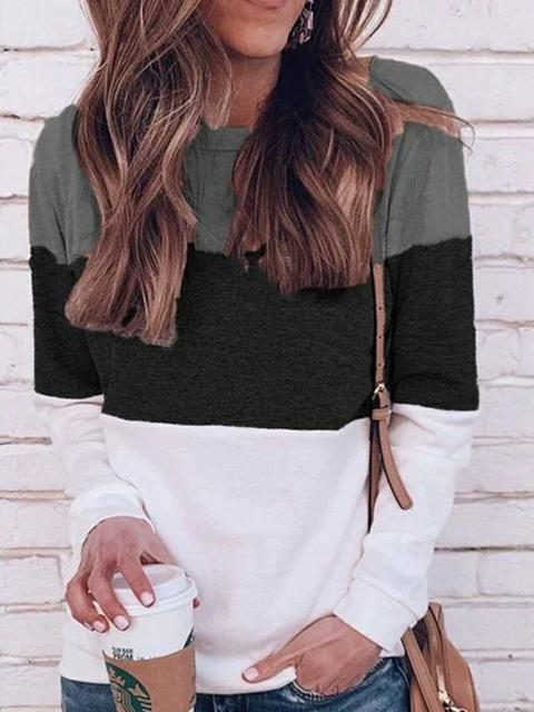 Color Block Long Sleeve Casual Tops