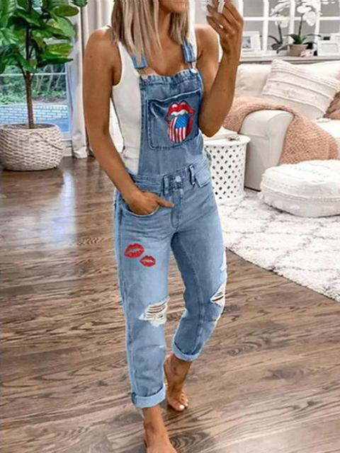 Flag Lips Print Denim Overalls