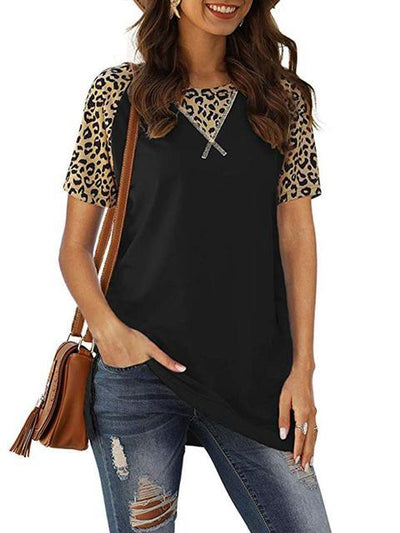 Leopard Patchwork Split Hem Casual T-shirt