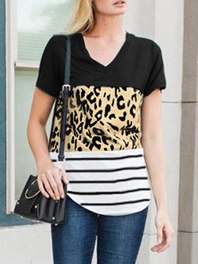 Leopard Patchwork Striped Print V-neck T-shirt