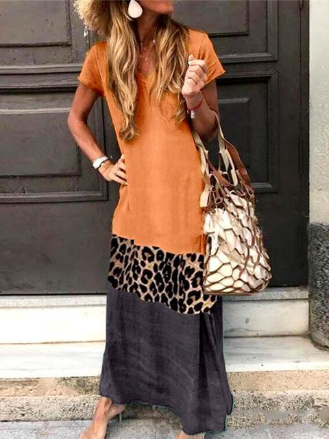 Leopard Print Color Block Dress