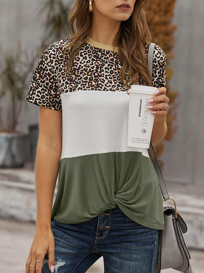 Leopard Print Color Block T-shirt