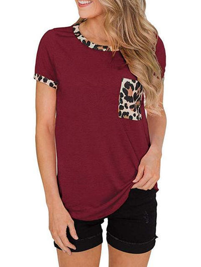 Leopard Print Pocket Stitching T-shirt
