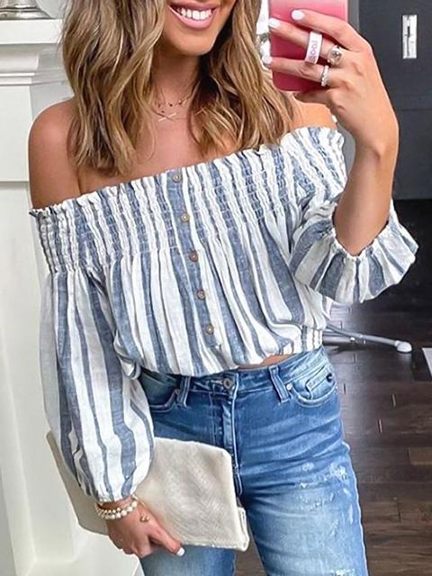 Off-shoulder Lantern Sleeve Striped Tops
