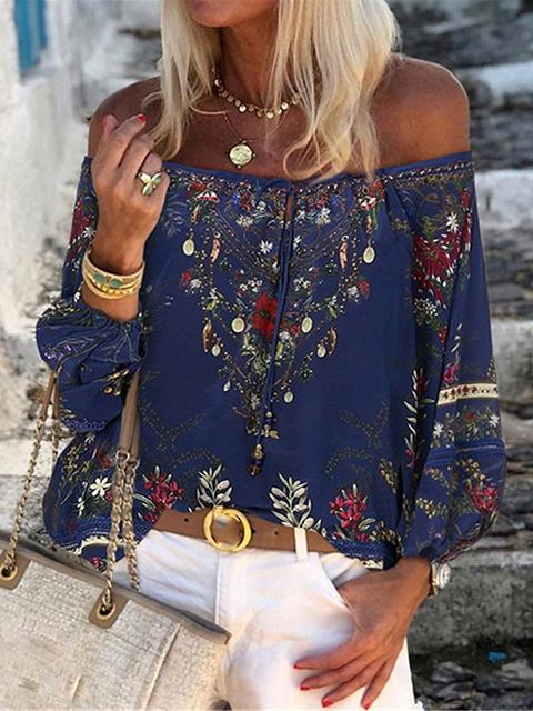 On-trend Printed Off Shoulder Blouse