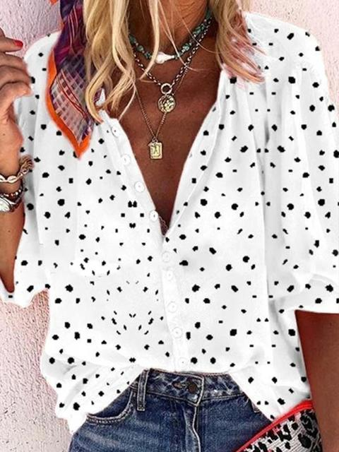 Printed Long Sleeve V-Neck Shirt