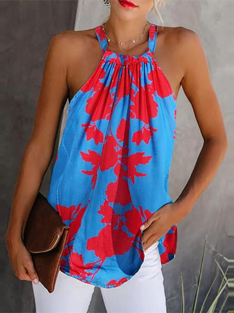 Printed Pleated Sleeveless Camisole