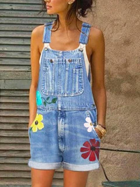Printed Slim Denim Bib Shorts Overalls