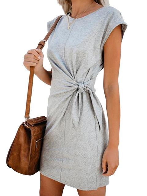 Pure Color Twisted Pleated Dress