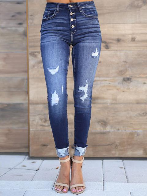 Ripped Skinny Fit Button Jeans