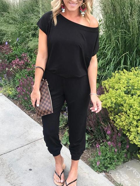 Short Sleeve Solid Color Casual Jumpsuit