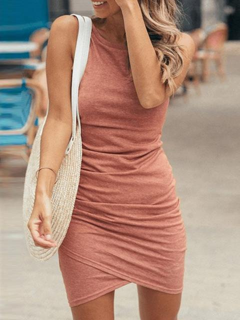 Sleeveless Solid Color Casual Dress