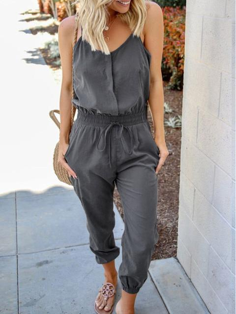 Spaghetti Straps Loose Casual Jumpsuit