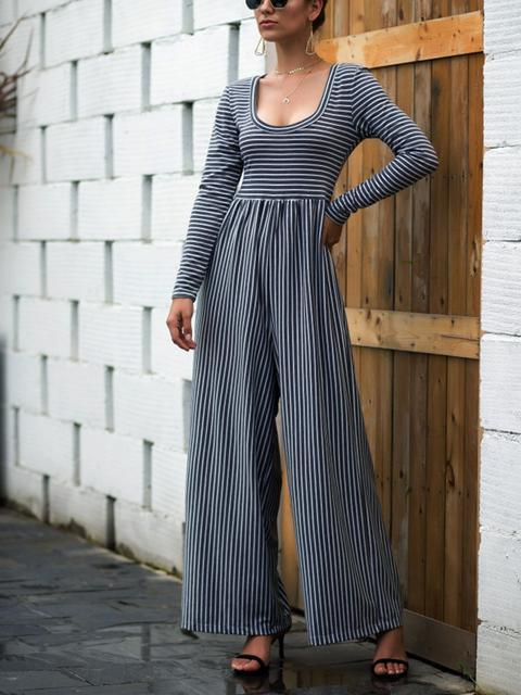 striped-pleated-wide-leg-casual-jumpsuit