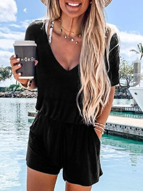 V Neck Casual Short Sleeve Romper