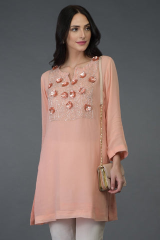 FLORAL PEACH TUNIC TOP