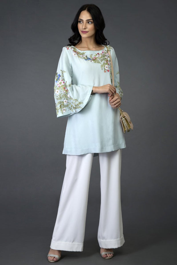 BLUE BIRDS TUNIC TOP