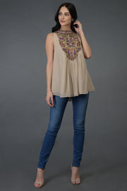 BIEGE NECK TUNIC TOP