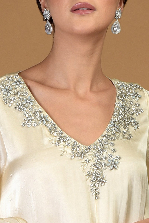 MOONSTONE V-NECK CRYSTAL DRESS