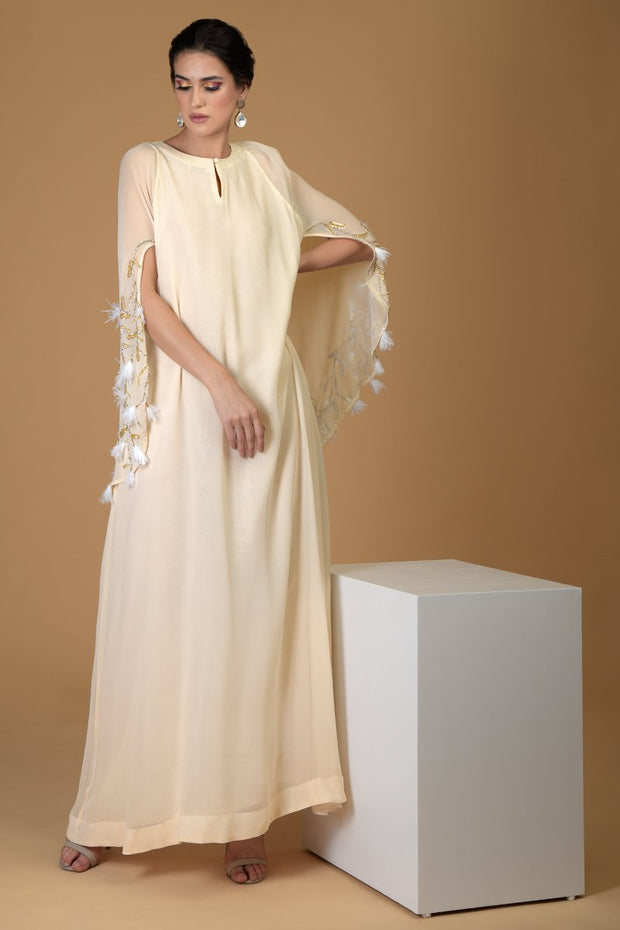 BLOOM FEATHER CAPE DRESS