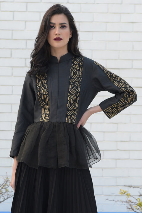 BLACK- GOLD METALLIC JACKET
