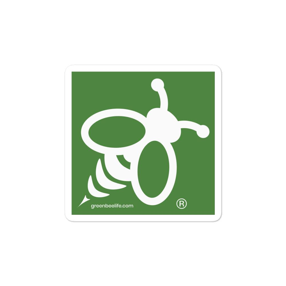 Green Bee Bubble-free Stickers
