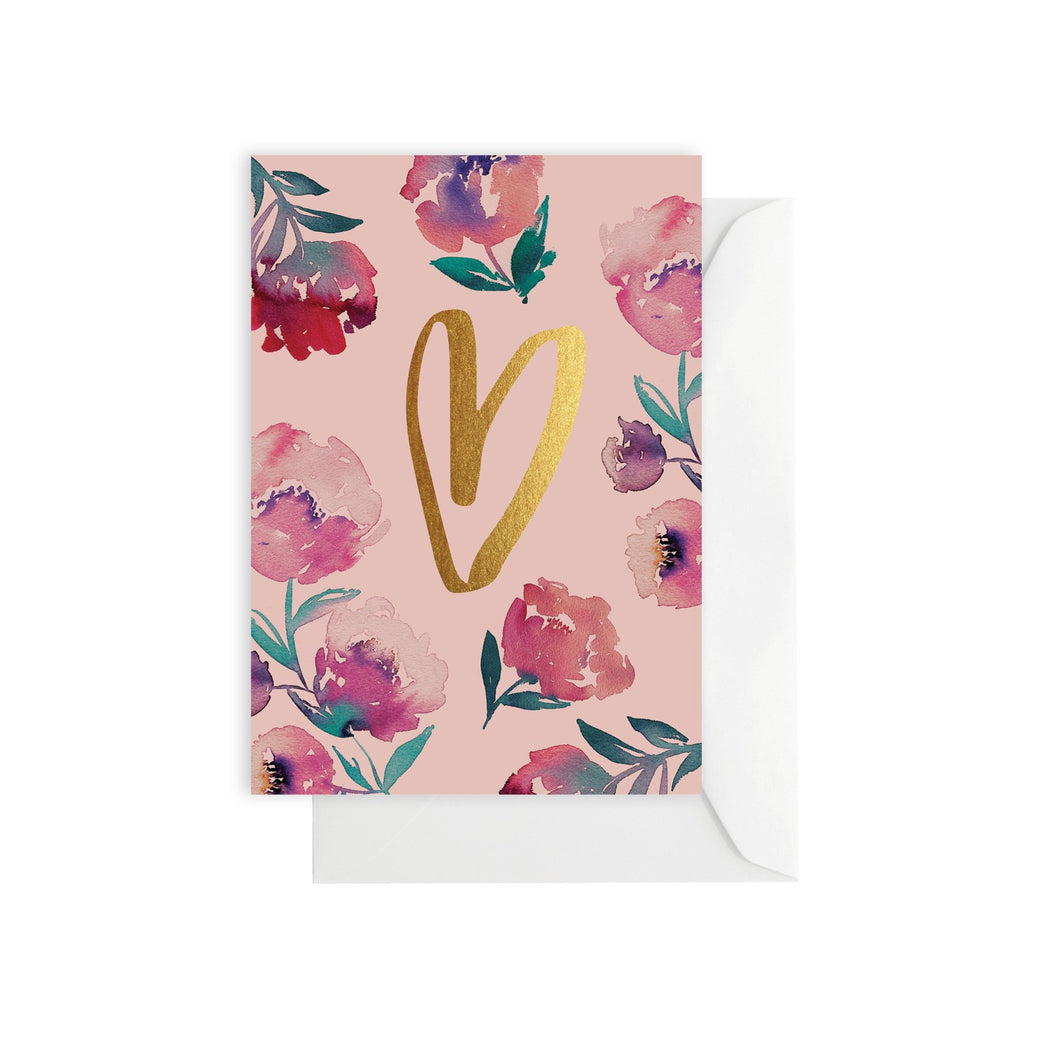 love heart and flowers -  greeting card