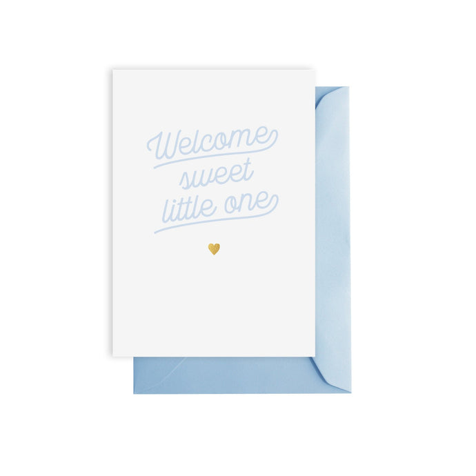 'welcome sweet little one' greeting card (blue)