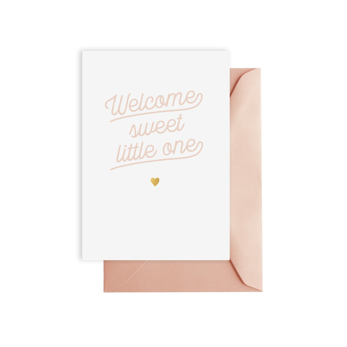 'welcome sweet little one' greeting card (pink)