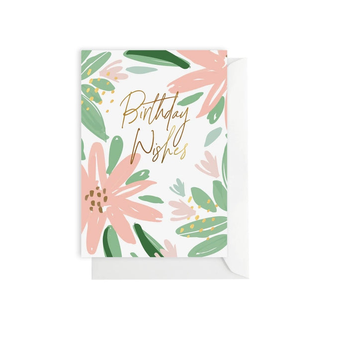 Peach 'Birthday Wishes' Greeting Card