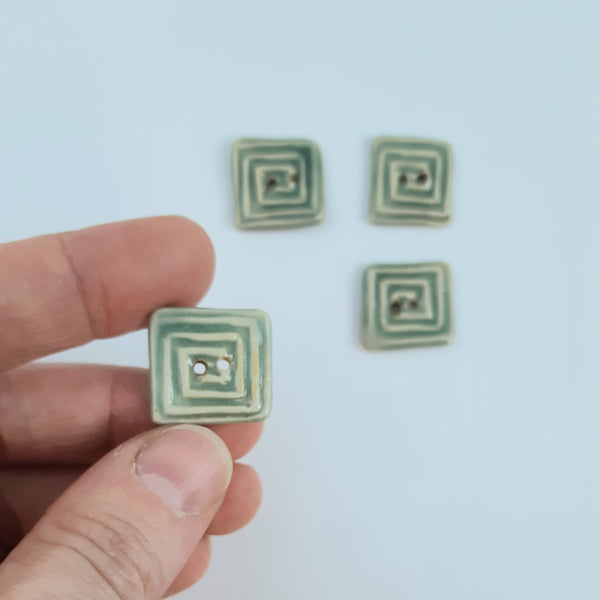 Square Spiral ceramic buttons - sage green - set of 4
