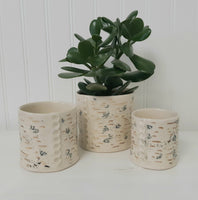 Planters - nesting set of three - hand built pottery - birch