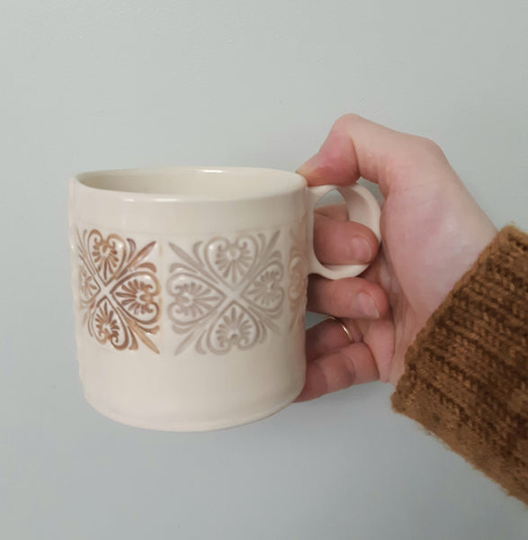 Shortie Mug - hearts in neutrals - hand built pottery mug