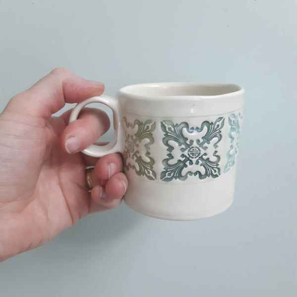 SECONDS Shortie Mug - fleur de lys in blues and green - hand built pottery mug