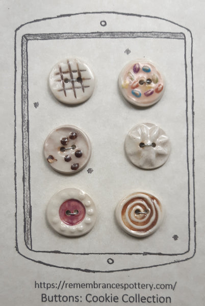 Cookie collection - buttons - set of 6