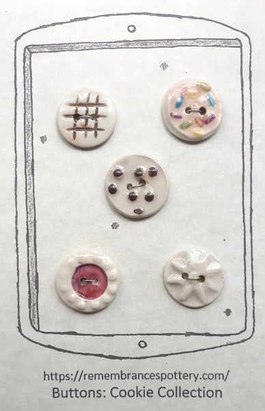 Cookie collection - buttons - set of 5