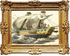 Antique framed print of ship.