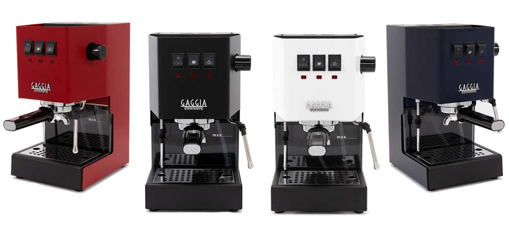 Four Gaggia Classic Pro espresso machines, in unique colors.