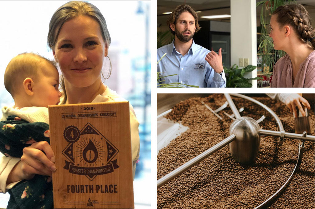 Three images. A large image to the left shows Janine Cundy holding her baby and her wooden plaque for placing fourth in the Nation contest for coffee roasting. Two smaller images on the right show Janine listening during a conversation, and also coffee beans roasting.