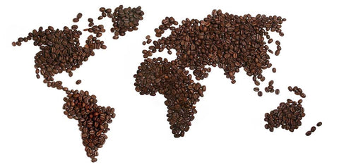 Map of the world made of coffee beans.