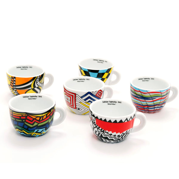 Edex Arlecchino 6 Cappuccino Cup Set 6.4oz From Whole Latte Love Base