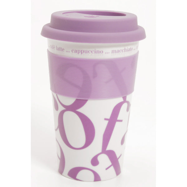 Waechtersbach Coffee-Script-Collage 12oz Travel Mug in Purple