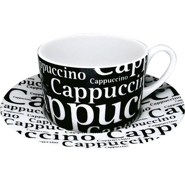 Konitz 7oz Writing Cappuccino Cup And Saucer Base