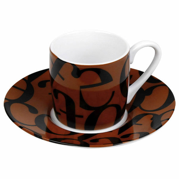 Konitz 3oz Script Collage Espresso Cup And Saucer Base