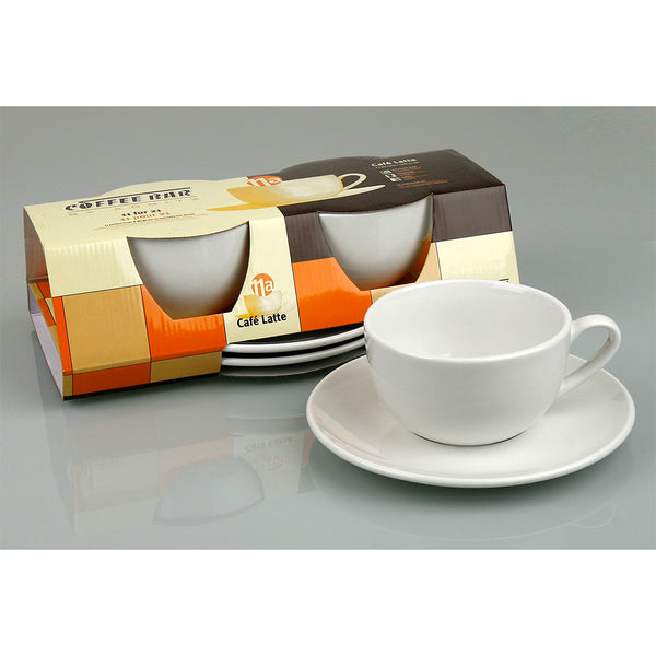 Konitz Set Of Two 15oz Cafe Latte Cups And Saucers Base