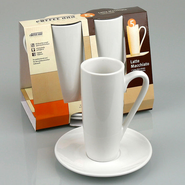 Konitz Two 8oz Latte Macchiato Cups & Saucers Base