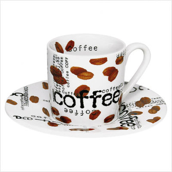 Konitz 3oz Coffee Collage Espresso Cup And Saucer Base